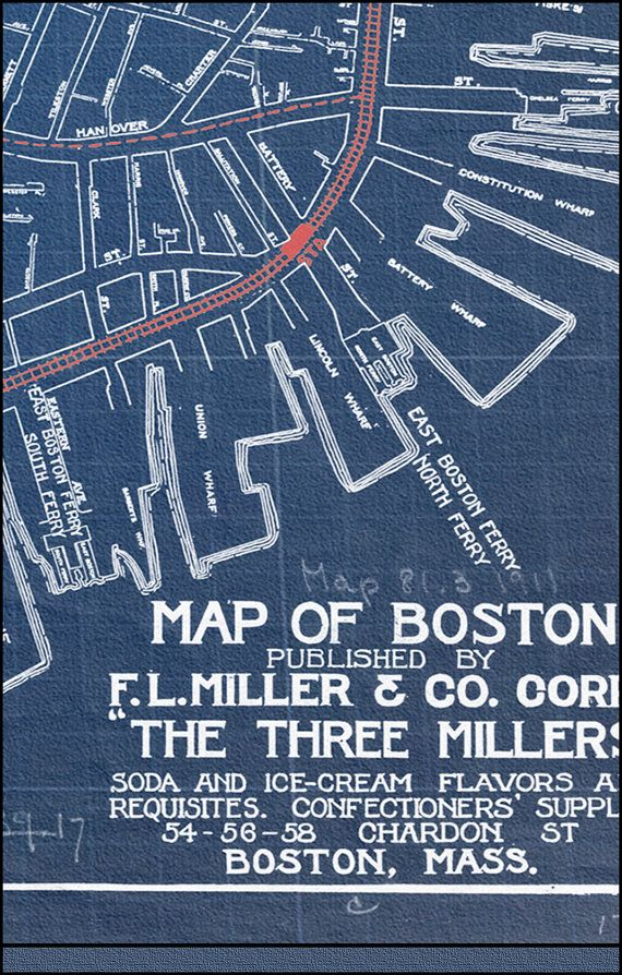 44 best blueprint maps images on pinterest long island rhode map of boston blueprint map boston map vintage by watercolormaps2 2250 malvernweather