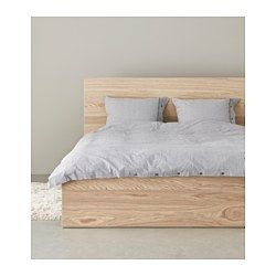 IKEA - MALM, Bed frame, high, Queen, , Real wood veneer will make this bed age gracefully.Adjustable bed sides allow you to use mattresses of different thicknesses.17 slats of layer-glued birch adjust to your body weight and increase the suppleness of the mattress.