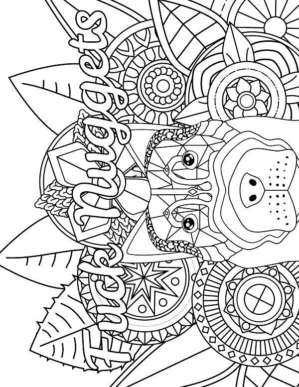 Dog Adult Coloring page swear