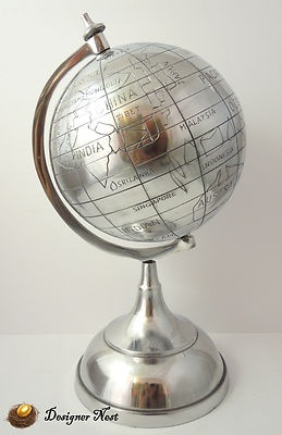 ALL SILVER METAL WORLD MAP GLOBE BASE STAND MIRROR MIRRORED ETCHED CARVED DESIGN | eBay