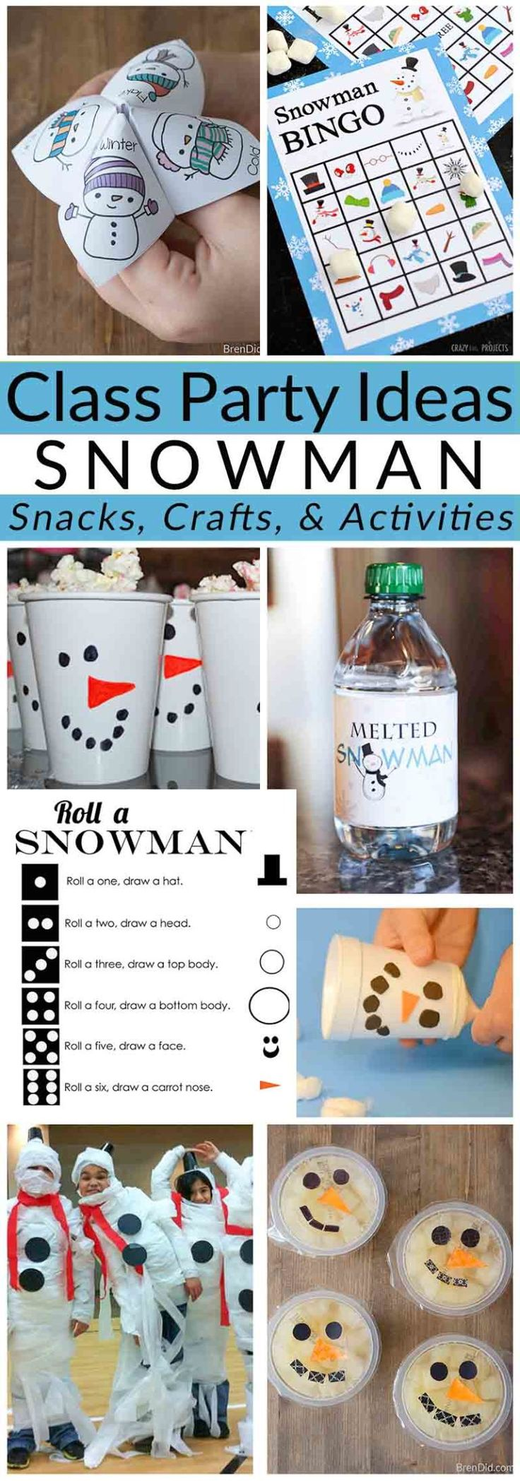 Class Party Ideas: Winter Snowman Party - Activities & Crafts for Elementary School Students | School Party | Snowman Party | Healthy Snacks for Kids | School Party Ideas #holidayparty #classparty #kidsparty