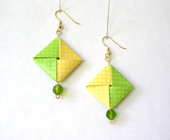 Origami Earrings Green and Yellow Polka Dot by PaperImaginations,