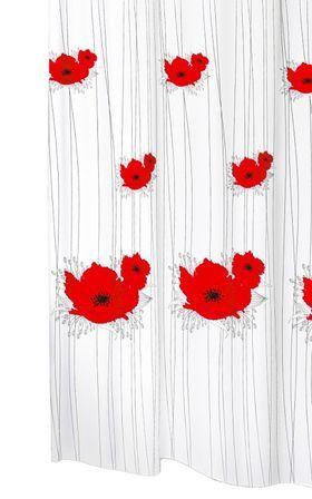 Textil Badewannenvorhang Mit Ringen PAPAVERO Weiß Mit Blüten Motiv Mohn In Rot Und Schwarz