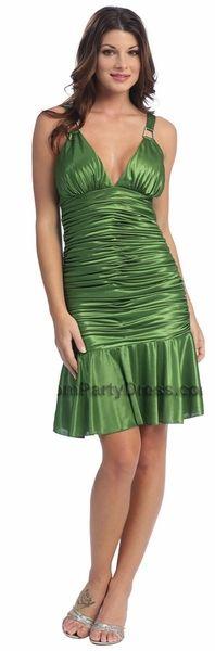 Olive Green Cocktail Dress Satin Low V Neckline Ruffled Skirt Olive $101.99