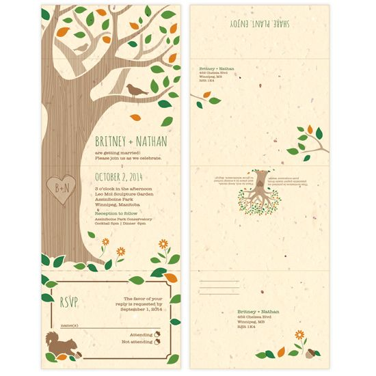 rustic tree seal and send plantable wedding invites invitation - Send And Seal Wedding Invitations