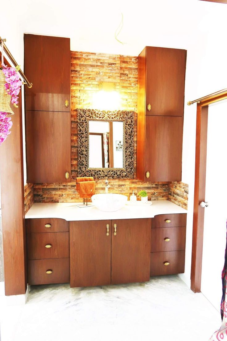 Living and Dining Area. Wash basin Area cabinets. Wooden ...