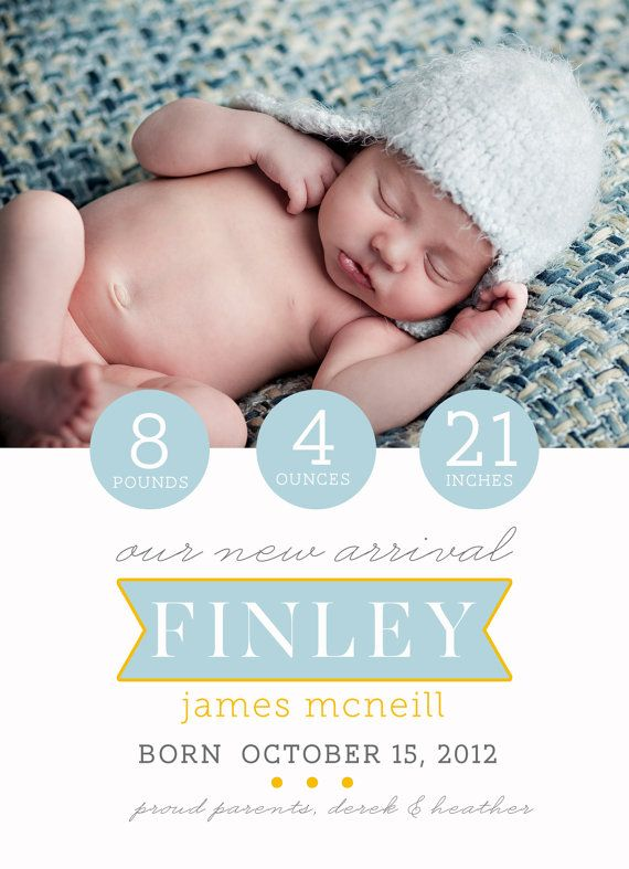 Birth Announcement photoshop card template  with simple banner with name in it, clean lines, boy or girl version available.  Simple by lillebarn, $8.00