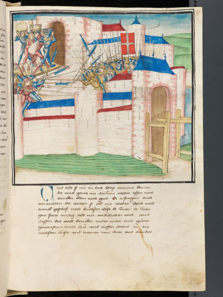 Illus 583 Fight in the streets of the city. The crew carried provisions in the castle. Bern, Burgerbibliothek, Mss.h.h.I.3 Parchment · 472 ff. · 38 x 27.5–28 cm · Bern · 1478-1483 Diebold Schilling, Amtliche Berner Chronik, vol. 3