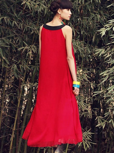 #Wholesale casual chiffon fashion vintage sleeveless long dress    Only$26.50
