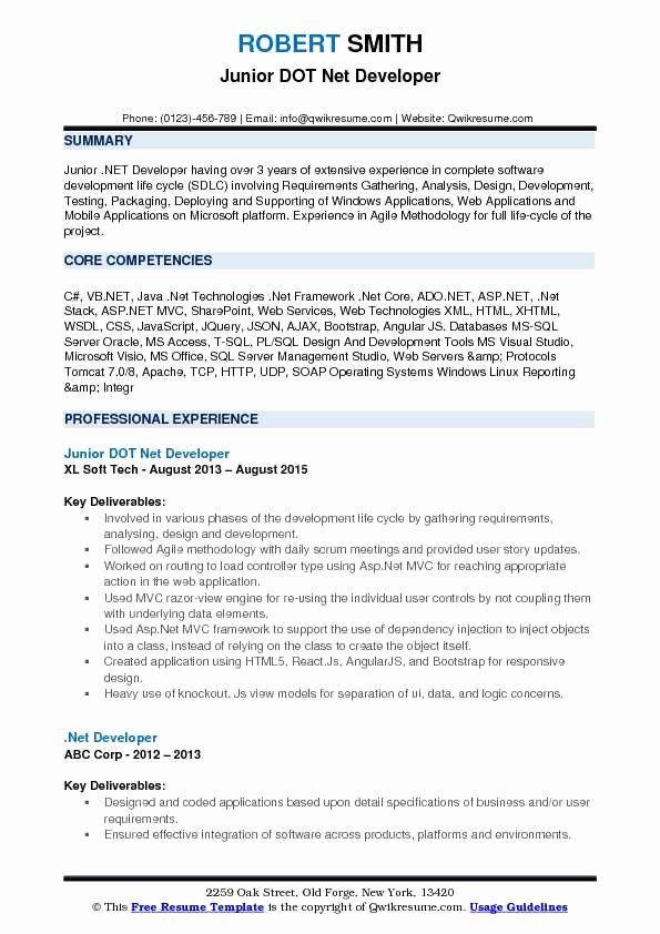 Dot Net Resume 7 Years Experience Luxury Dot Net Developer Resume Samples In 2020 Job Resume Samples Resume Template Professional Resume