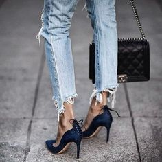 Frayed denim and lace up heels