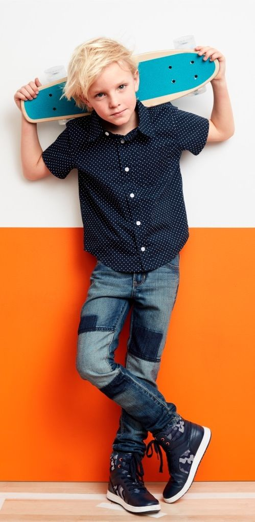 Boys' fashion | Kids' clothes | Patched jeans | Printed button-down top | Hi-top jet sneakers | The Children's Place