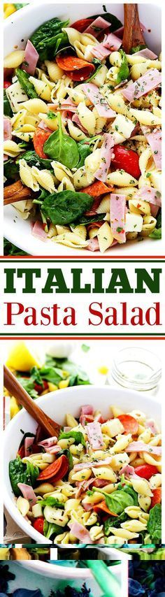 Italian Pasta Salad Recipe - Loaded with all your Italian favorites, like pepperoni, ham, tomatoes, spinach and cheese, this is the perfect pasta salad for any cookout, picnic or light summer meal. Natural Choice #ad #sk #makethenaturalchoice