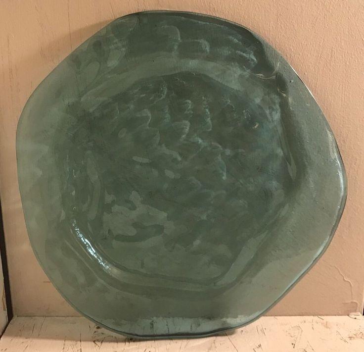 "12.25"" Annieglass Blue Art Slumped Glass Plate Signed    eBay"