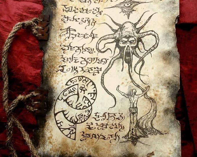 Necromancer Formulae Zombie Cthulhu Larp Necronomicon Scrolls Etsy Cthulhu Demonologia Larp