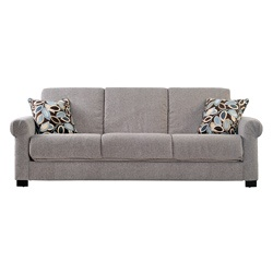 @Overstock - Comfortable and stylish, the transitional Portfolio Rio Convert-a-Couch futon sofa features rolled arms and easily converts into a full size bed. The futon sofa is covered in a durable sandy gray chenille fabric and works well in any decor. $439.19