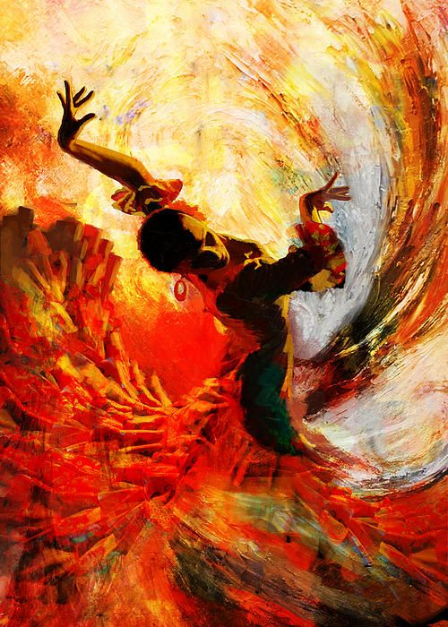 Flamenco artwork but also shows the colours I want to incorporate (yellows, oranges, reds, pinks, greens and blacks)
