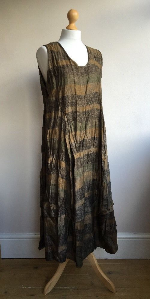 Stunning MARTINE SAMOUN 'crinkled' Balloon Hem Lagenlook Tunic Dress OSFA NWT…