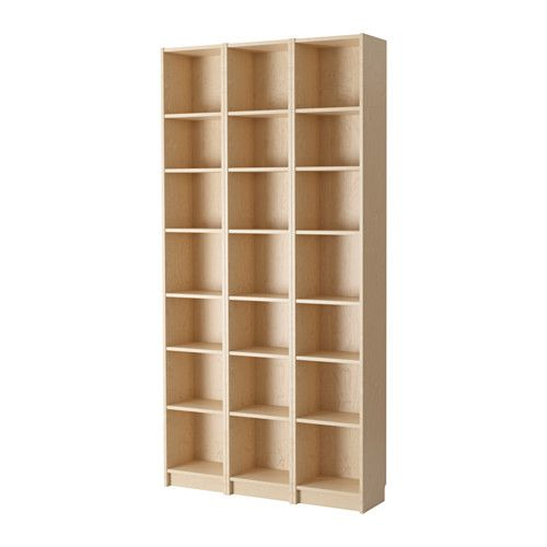 IKEA - BILLY, Bookcase, birch veneer, , Narrow shelves help you use small wall spaces effectively by accommodating small items in a minimum of space.Adjustable shelves can be arranged according to your needs.Surface made from natural wood veneer.