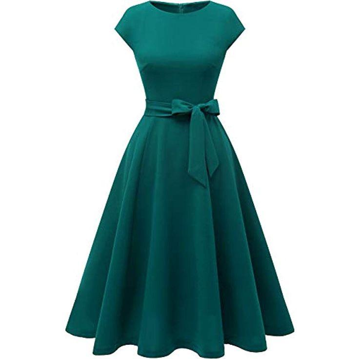 Dresstells Damen Midi Sommerkleid 1950er Vintage Rockabilly Kleid Hochzeit Cockt…