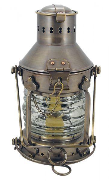 Ankerlampe Messing antik, Petroleumbrenner, H: 24cm, Ø: 12cm