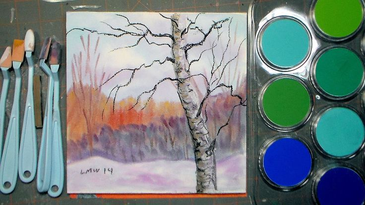 Winter scene in Pan Pastel Tutorial and Collab & Giveaway with A Cappell...