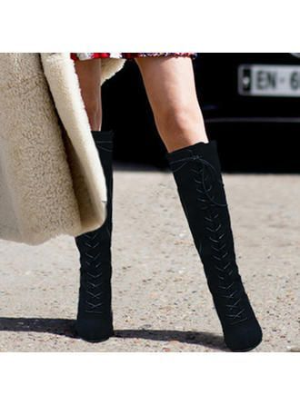 [ 28.60] Women's PU Chunky Heel Boots Knee High Boots With Lace-up Shoes VeryV …