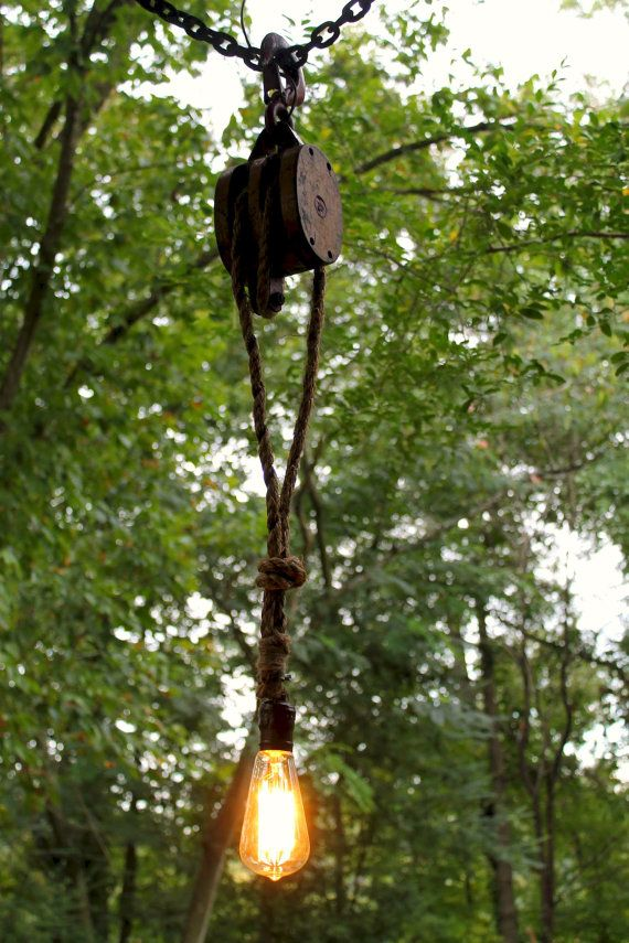 Rustic Farm Pulley Accent Light by SouthernRestorations on Etsy