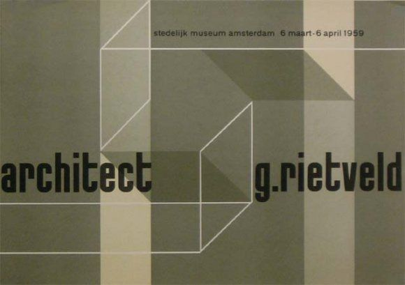 """architect g.rietveld"" Exhibition Poster, Stedelijk Museum, Amsterdam. 1959"