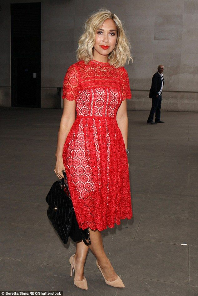 Blonde ambition: They say blondes have more fun. And Myleene Klass seemed determined to prove that point as she stepped out in a vibrant and flirty ensemble to complement her freshly dyed tresses