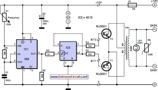 12V to 220V Inverter Circuit Diagrams, Even though today's electrical appliances are increasingly often self-powered, especially the portable ones you carry around when camping or holidaying in summer, you do still sometimes need a source of 230 V AC
