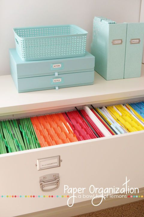 Manilla file folders have nothing on this pristine color-coded set. Finding important papers barely requires reading labels — just a glance toward the right color to find exactly what you need fast.See more at A Bowl Full of Lemons »