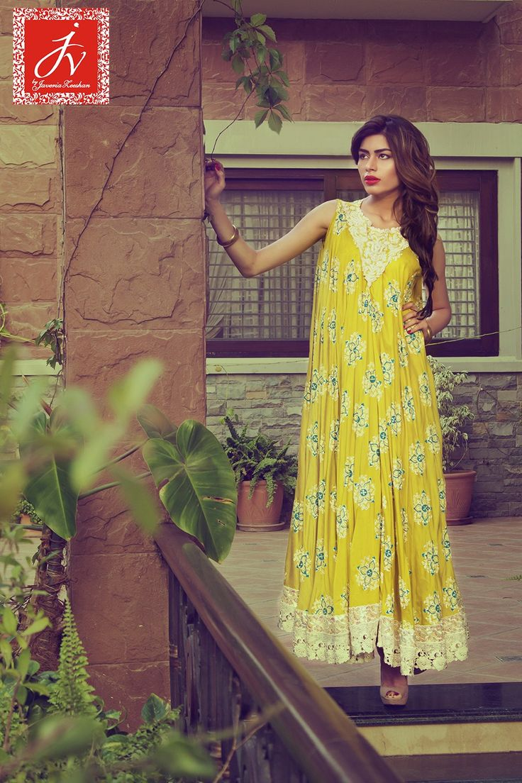 Pakistani Designer Dresses - Lowest Prices - Printed Light shade dress by Javeria Zeeshan Couture - Dresses - Latest Pakistani Fashion
