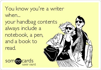 That is so me! I'm seriously contemplating taking the DEEP vintage case I have and putting all my 'must have' books, writing paper and pens in it so I can take them with me everywhere I go - just 'in case' I need them! (Pun not intended. ;) )