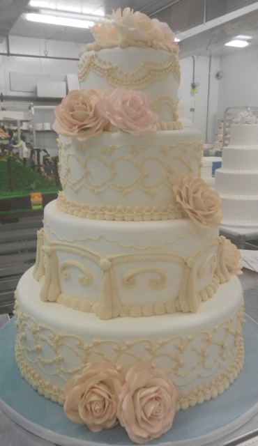 Traditional piping accented with roses