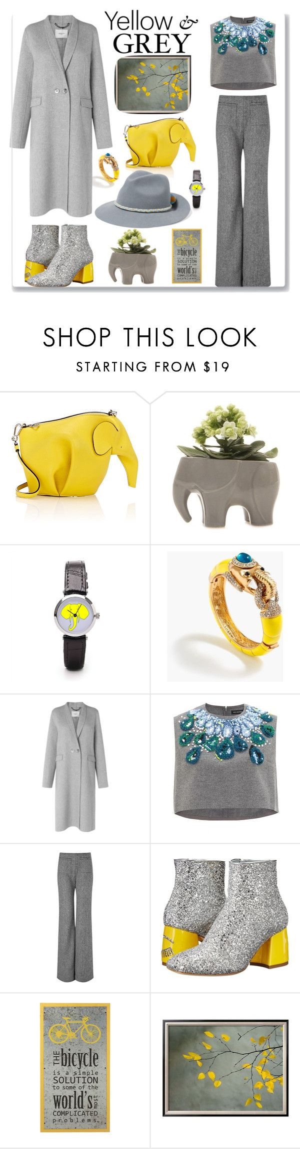 """Yellow & grey"" by dilka-ylibka on Polyvore featuring мода, Loewe, Chive, J.Crew, L.K.Bennett, Vika Gazinskaya, Isa Arfen, Chiara Ferragni и YOSUZI"