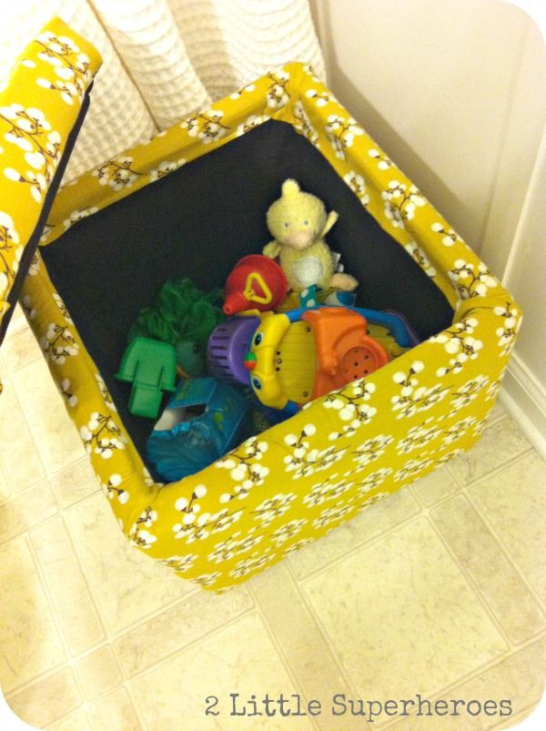 Storage Cube Makeover using Just a Yard of Fabric and Staple Gun