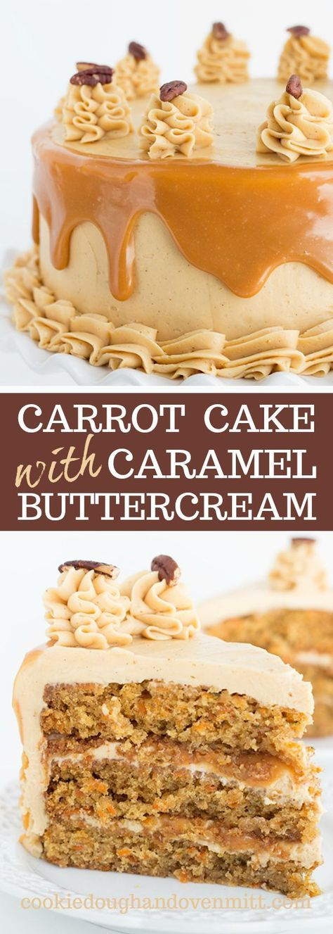 Carrot Cake with Caramel Buttercream - What a perfect Easter dessert! This carrot cake recipe is so moist and tender. It's made with vegetable oil instead of butter. It's spiced up with some cinnamon and nutmeg too. The frosting is a swiss meringue buttercream with a caramel sauce added to it. Plus, sandwiched between each cake layer is even more caramel!