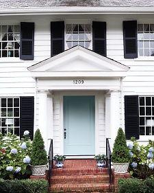 white house black shutters lt blue door