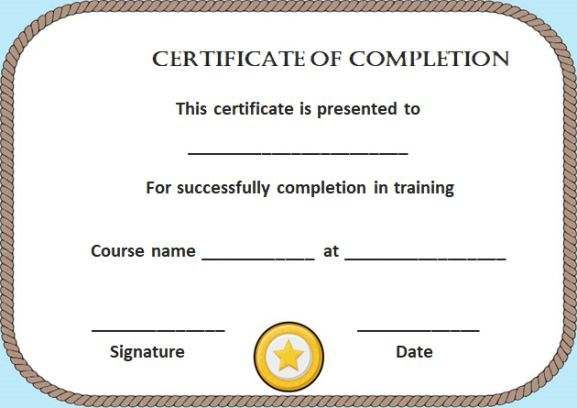 Blank Certificate of Completion Template Free