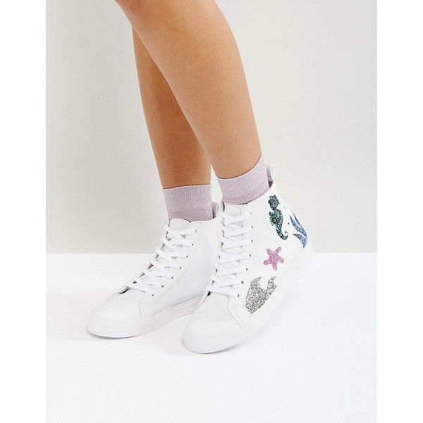 ASOS DIVE IN SeaHorse High Top Trainers ($46) ❤ liked on Polyvore featuring shoes, sneakers, white, white lace up sneakers, white high top shoes, hi tops, glitter high tops and lace up sneakers