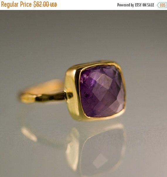 SALE  Purple Amethyst Ring Gold  February Birthstone by delezhen