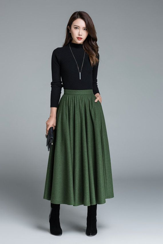 green wool skirt, winter skirt, pleated skirt, fashion clothing, skirt with pockets, maxi skirt, custom made, womens skirts, gift ideas 1641