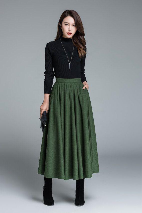 grüne Wolle Rock, Winter Rock, Faltenrock, modische Kleidung, Rock mit Taschen, Maxirock, nach Maß, Damen Röcke, Geschenkideen 1641