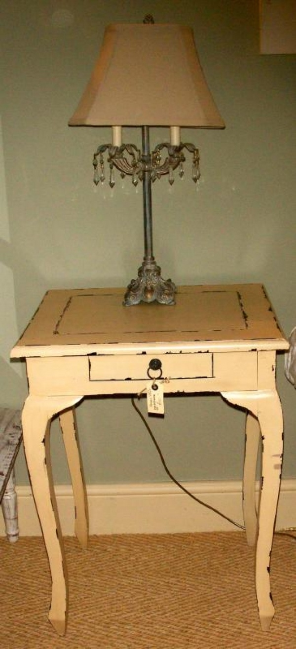 Black distressed dining table and six parlor chairs stamped 1928 - French Side Table Cream Distressed