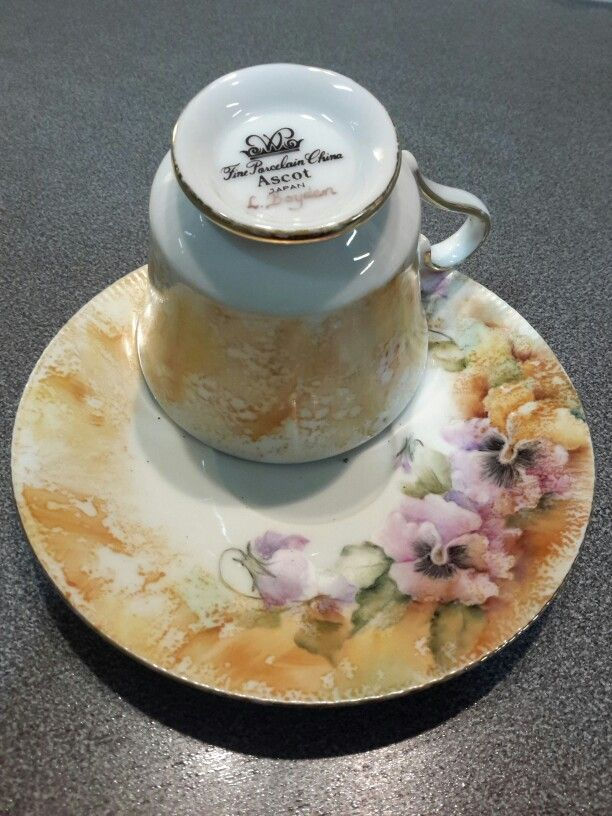 Recent thrift shop purchase ready for high tea fundraiser at work. Artist - L Boyden not known to me