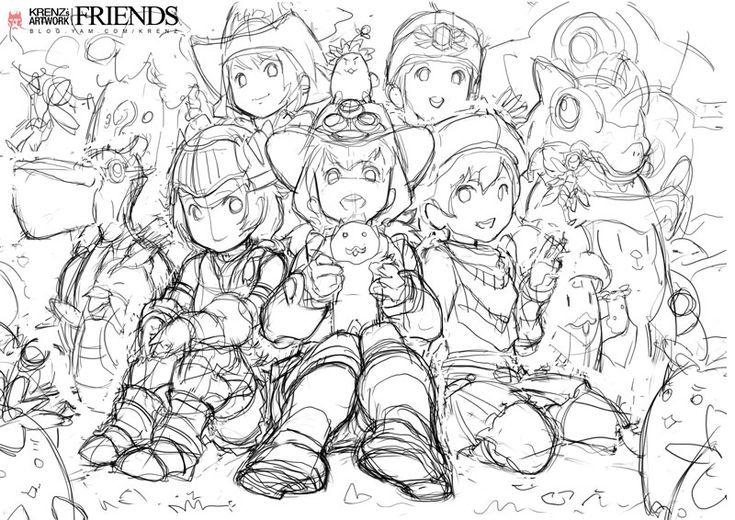friends-sketch by *Cushart on deviantART