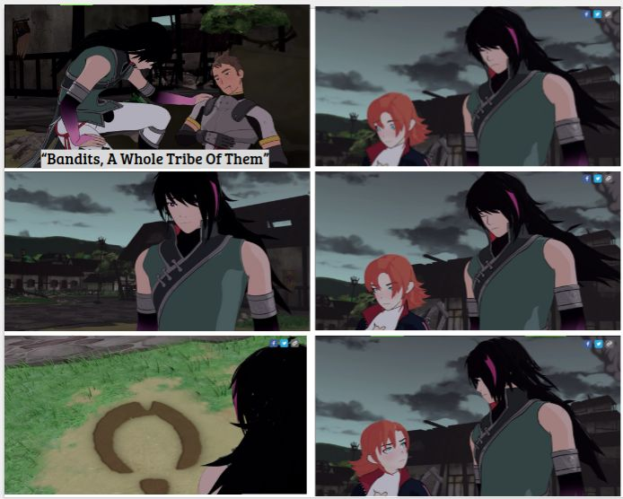 RWBY Volume 4, in episode 2, LOOK AT NORA AND REN'S FACES!!! They go from complete sadness and worry at what happened to that village and it's people, to anger and hate. I think it may have something to do with how they became orphans. What if their parents were murdered, BY THE SAME GROUP OF BANDITS! What's happening?