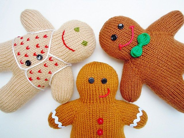 Free knitting pattern for Gingerbread Boys and more Christmas decoration knitting patterns