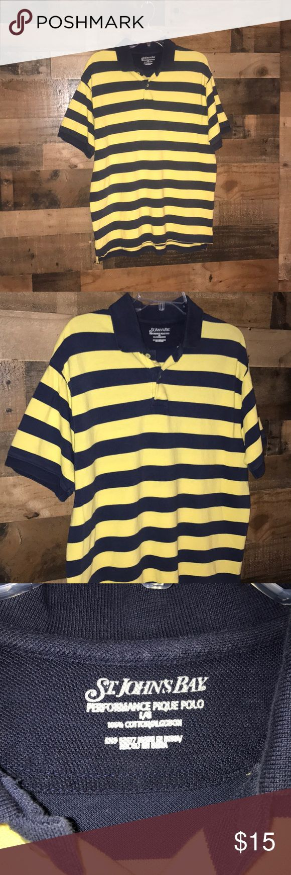 Men's collared shirt Men's St John's Bay striped collared shirt yellow and navy size L St. John's Bay Shirts